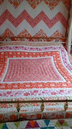 pink and orange quilt