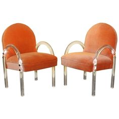 Pair of Pace Lucite Arm Chairs