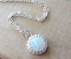 Sterling Silver Opal Necklace Silver Opal by BlueSoulDesigns, $54.00