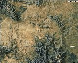 The Cheyenne Belt is the faint lineament just above and nearly parallel to the Colorado-Wyoming state line; courtesy UNAVCO, http://jules.un...