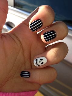 Halloween gel nails #jackskellington #manicuremonday #halloween