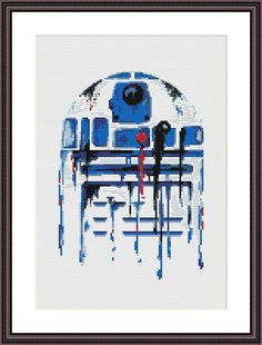 Star Wars Cross Stitch PDF pattern R2D2 - Watercolor - Silhouette    On 14-count aida the design measures 6.00 * 8.64 inches / 15.24w X 21.95h cm / 84w X 121h Stitches.  Sizes will change with count size. Design used 16 DMC thread colors. This pattern is in PDF format and consists of a floss list, and a color symbol chart. If you have any questions about this pattern, please ask me. I will contact you with any further instructions when order is received.  After the payment successfu...