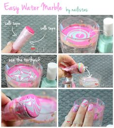 Easy Water Marble Step by Step Nail DIY
