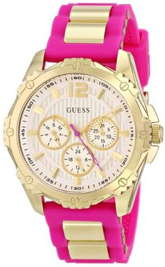 GUESS Women's U0325L3 Pink Silicone Multi-Function Watch with Gold-Tone Case & Interlinks