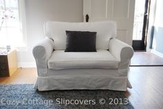 Cozy Cottage Slipcovers: Brushed Canvas Chair and a half Slipcover
