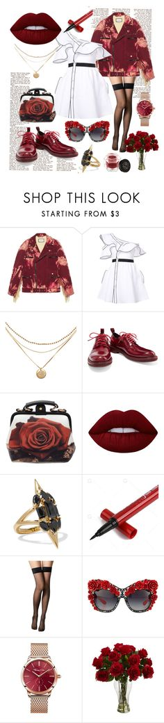 """""""Roses for days"""" by safia-moizuddin ❤ liked on Polyvore featuring Gucci, self-portrait, rag & bone, Lime Crime, Noir Jewelry, Fogal, Dolce&Gabbana, Thomas Sabo and Rituel de Fille"""