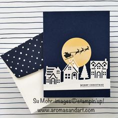 It was a clear, winter night, and the moon was full, when Santa and his reindeer took flight. This silhouette is from the Hearts Come Home stamp set.  The winter night began with a Night of Navy card base. The full moon was cut with a Layering Circles die from watercolor paper, and Santa's …