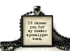 zombie apocalypse quote word resin necklace or by WordBaubles, $15.00