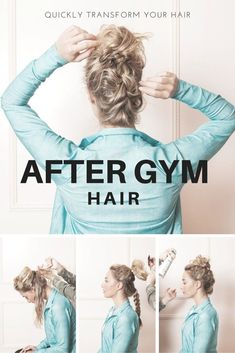 How To Quickly Transform Your Hair After Working Out · The Body Book Gym Hairstyles Easy, Running Hairstyles, Second Day Hairstyles, Bun Hairstyles For Long Hair, Workout Hairstyles, Hairstyles For Working Out, Hairdos, Pretty Hairstyles, Updos