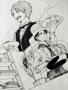Rivaille (Levi) x Eren Jaeger...is that Sasha in the background? O.O...