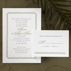 A simple, white invitation card features an ivy design bordering your wedding verse in the ink color of your choice. Reception and respond enclosures are a card stock. Informal note and thank you cards are a folded stock.