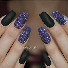 Flat black acrylic nails with glitter party nails
