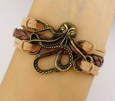 Octopus Bracelet Pirates Of The Caribbean Silver Brozne Charm Friendship Gift Bridesmaid Christmas On Etsy 3 99