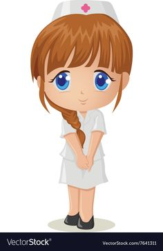 Cute cartoon of a nurse Royalty Free Vector Image Nurse Cartoon, Cartoon Chef, Girl Cartoon, Chat Work, Nurse Drawing, Medical Drawings, Stick Figure Drawing, Medical Pictures, Nursing Students