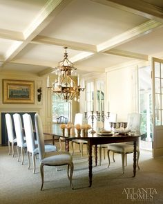 """Search for """"house tour Atlanta"""" - Design Chic - chandelier hung from wood beam"""
