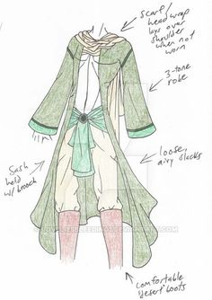 PLEASE NOTE: I do not allow any use of my designs. i find some desert styles to be rather appealing. cork it. Clothing Sketches, Fashion Sketches, Dress Sketches, Character Costumes, Character Outfits, Anime Outfits, Cool Outfits, Male Outfits, Desert Clothing