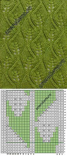 узор 588 «ажурные листики» | каталог вязаных спицами узоров