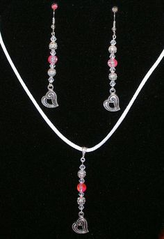 Pendant and Earrings Set with Hearts, Pink Crackle Beads, Silver-tone Beads