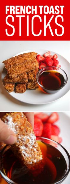 2 cups cornflakes 1/2 cup powdered sugar 3 eggs 1/2 cup milk 1/2 tbsp cinnamon oil/butter for frying maple syrup  Recipe: 1. Mix eggs, milk, powdered sugar, and cinnamon in a bowl 2. Cut bread slices into 3-4 strips. 3. Crush cornflakes finely in a food processor or by hand. 4. Dip each bread strip into the egg mixture, then coat evenly with the cornflakes. 5. Fry in a pan until golden brown on all sides. 6. Top with powdered sugar, and serve with maple syrup!