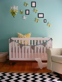 modern crib, yellow/gray bedding, benjamin moore sea mist wall color