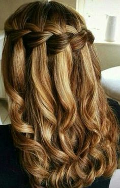 Balayage curly hair with waterfall braid #gorgeoushair