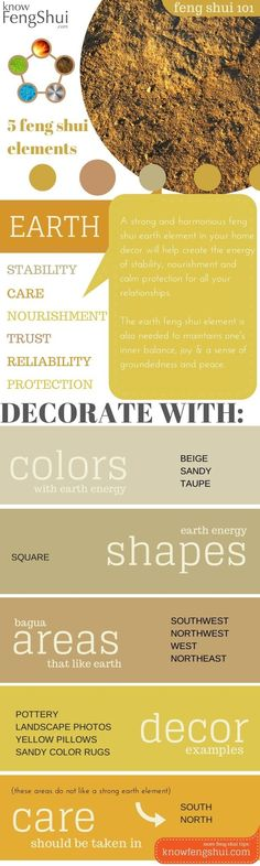 Easy home or office decorating with the earth feng shui element: know how to use specific colors and modern decor items to bring the energy of nourishment and stability  into your life