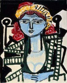 Pablo Picasso, Portrait de femme à la robe vert jaune, 1954
