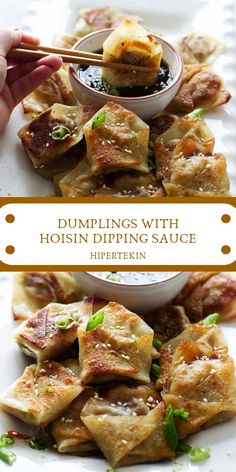 Dumplings With Hoisin Dipping Sauce recipes is the most prodigious Chinese Food recipes i've ever re Authentic Chinese Recipes, Chinese Chicken Recipes, Easy Chinese Recipes, Asian Recipes, Sauce Recipes, Cooking Recipes, Recipes With Hoisin Sauce, Cooking Games, Chinese Recipes