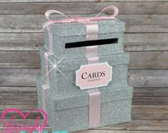 Cardbox Glitter Silver and Baby Pink Gift Money by LovinglyMine