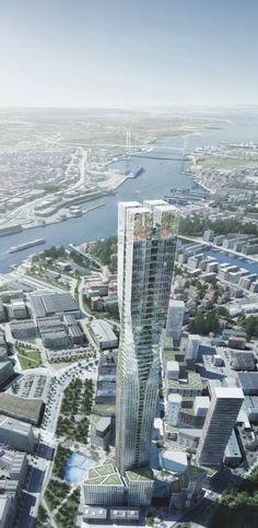 Zaha Hadid and SOM Among 5 Competing to Design Scandinavia's Tallest Tower / Proposal #4, Polstjarnan  (230 meters)