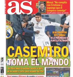 Casemiro's recent performances have earned him a place on the front page of 'as': 'CASEMIRO TAKES COMMAND'. #RMCF (via Seleção Brasileira on Twitter)
