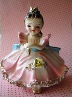 ARNART Creations Japan Girl in Pink Dress Holding Cake Knife 1950s Cake Topper