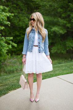 white eyelet dress, denim jacket // spring outfit