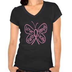 Breast Cancer Butterfly Inspiring Words T-shirt by www.giftsforawareness.com #breastcancer #breastcancerawareness #pinkribbon #awarenessshirts