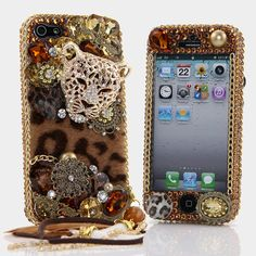 Bling Cases, Handmade 3D leopard design crystals case for iphone 5, iphone 5s, iphone 6, Samsung Galaxy S4, S5, Note 2, Note 3, LG, HTC, Sony – LuxAddiction.com