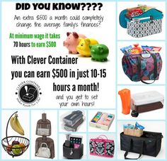 I am looking for individuals in YOUR area to train as a Clever Container Director. Clever Container is the ONLY direct sales company to specialize in home organizational products... That means NO Competition! We have less than 2000 consultants and the products sell themselves! Contact me to learn more.