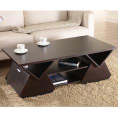 Furniture of America Melika - Mesa de café con diseño geométrico, espresso
