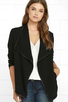 Jet set to the land down under, or venture downtown in the Jack by BB Dakota Melbourne Black Jacket! This wear-anywhere knit jacket has long sleeves, and a draping open front with vegan leather trim, plus interior and exterior buttons for a cool asymmetrical look. Two front welted pockets and pointed hem.