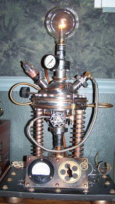 Image Atomic Lamp/ J Dooley in Steampunk Style album Steampunk Kitchen, Chat Steampunk, Arte Steampunk, Steampunk Artwork, Style Steampunk, Steampunk Gadgets, Steampunk Crafts, Steampunk House, Steampunk Design