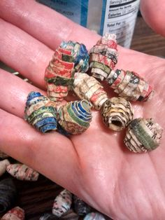 """""""Raw"""" unglazed paper beads I rolled after adhering fancy napkin to corrugated paper"""