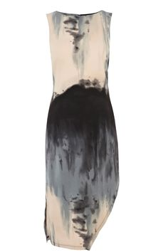 Painterly Print Dress with arty abstract pattern & asymmetric hem; bold printed fashion // Warehouse