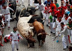 The last running of the bulls at the San Fermin festival in Pamplona, northern…