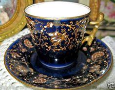 ... FRANCE COBALT JEWELED DEMI Victorianteacupshop tea cup and saucer: