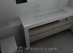 De Eerste Kamer) Een moderne wastafel van composiet gecombineerd met een zwevende onderkast van massief eiken. Puur design in de badkamer!