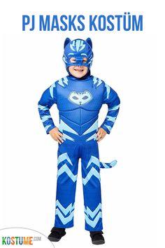 Bereit gegen die Nachtschurken zu kämpfen? Das lizenzierte PJ Masks Catboy Muskel Kinderkostüm besteht aus einem blauen, wattierten Overall mit Muskeleffekt und dem unverkennbaren Catboy-Logo. Der dazugehörige Schwanz ist abnehmbar. Abgerundet wird dieses Kostüm durch die detailgetreue Kapuze mit integrierter Maske. Ein unverzichtbares Kostüm für alle kleinen PJ Masks Fans. Batgirl, Catwoman, Pj Mask, Overall, Captain America, Babys, Superhero, Logo, Fictional Characters