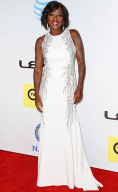 Viola Davis in an embellished white gown