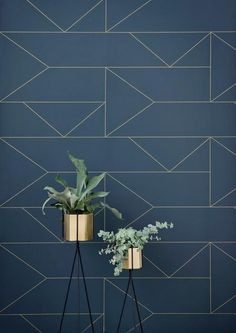 Ferm Living Lines Dark Blue - designer wallpaper / wallcovering - feature wall - Art Deco modern geometric - Scandinavian design - House Decor Ideas - Plants Lines Wallpaper, Trendy Wallpaper, Cool Wallpaper, Wallpaper Ideas, Wallpaper Paste, Accent Wallpaper, Graphic Wallpaper, Metallic Wallpaper, Living Room Wallpaper Accent Wall