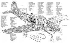 Bell P39 AIRCOBRA. Aircraft Cutaway