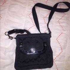 Crossbody Black Coach Purse Crossbody black C print coach purse. barely used, great condition Coach Bags Crossbody Bags
