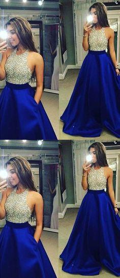 Beading Custom Made A-Line Charming Prom Dress,Formal Dresses,Satin Evening Dresses On Sale, T45